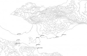 Map of the Isthmus with sites discussed by Pausanias