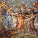 Pentheus being torn by maenads. Roman fresco from the northern wall of the triclinium in the Casa dei Vettii (VI 15,1) in Pompeii. Wikimedia Commons.