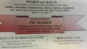 Hamburger Inn's menu featuring the Pie Shake.