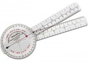 A device used by many physical therapists to measure the range of motion in degrees of a joint. This measurement is used to chart a patients progress.