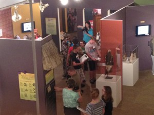 A group of 150-ish kids came in, here they are going through the Western Africa exhibit.