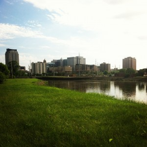 A view of downtown from one of the running trails in Rochester.
