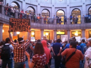 The rotunda where people on both sides chanted all day