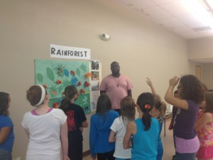 Anthony teaching about the rainforest.