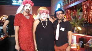 Two of the other drag queens and Ben, who organized our Silent Auction