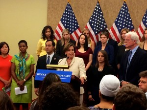Nancy Pelosi speaking on her Middle Class Jumpstart Action Plan.