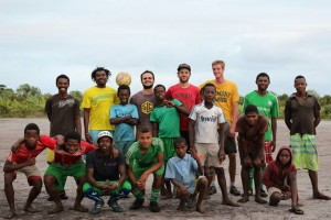 "A good-bye game of ""Bali"" for Graham with the Saint-Luce Footballers."