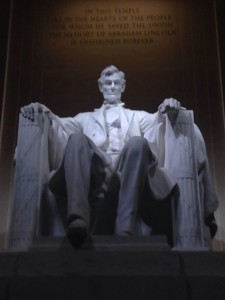 The statue of Lincoln inside the Lincoln Memorial