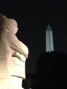 """The Martin Luther King, Jr. Memorial """"looking at"""" the Washington Monument in the Background"""