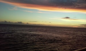 View of the ocean in Ponce at sun set