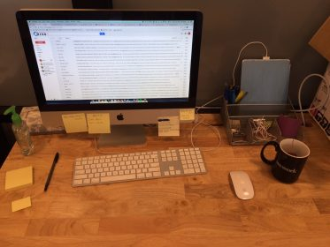 My Global Zero desk, equipped with my work iPad and Earl Grey Tea.