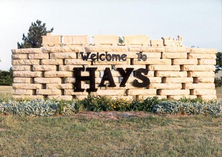 Welcome sign in Hays, Kansas.