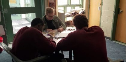 Coloring and Chatting with Two Residents