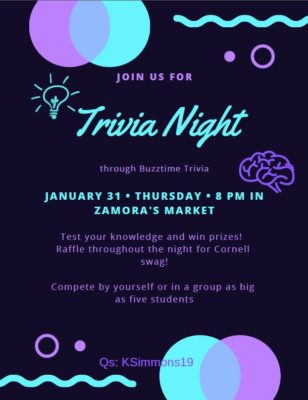 Trivia Night January 31st at 8p in Zamora's Market! Compete by yourself or as a group as big as five students! Raffle drawing throughout the night to win Cornell swag! Q's: KSimmons19