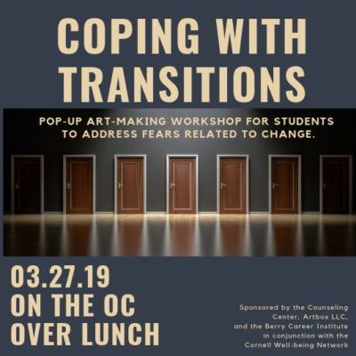 "The Counseling Center, along with Berry and Artbox LCC, will be hosting an event  Wednesday, 3/27 over lunch on the OC to address stress related to life transitions and change. Third and fourth-year students might relate most to the content, however, any student experiencing stress or fears about the future, unknowns in general is welcome! … <a href=""https://blogs.cornellcollege.edu/studentlife/archives/3044"" class=""more-link"">Continue reading <span class=""screen-reader-text"">Coping With Transitions</span> <span class=""meta-nav"">→</span></a>"