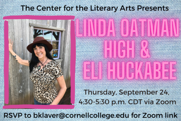 2019-20 Distinguished Visiting Writer Linda Oatman High & Eli Huckabee will share their work on 9/24.